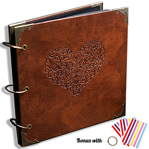 CenterZ Vintage Photo Album/DIY Scrapbook, 10x10 inch 50 Pages Double Sided, PU Leather Cover Three-Ring Binder Picture Booth Albums with 6 Colors 342pcs Self Adhesive Photos Corners for Memory Keep Vacation Scrapbook Albums