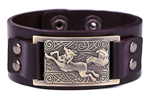 Vintage Fenrir Nordic Wolf Celtic Knot Metal Cuff Bracelet Spiritual Animal Jewelry for Men/Women Gift