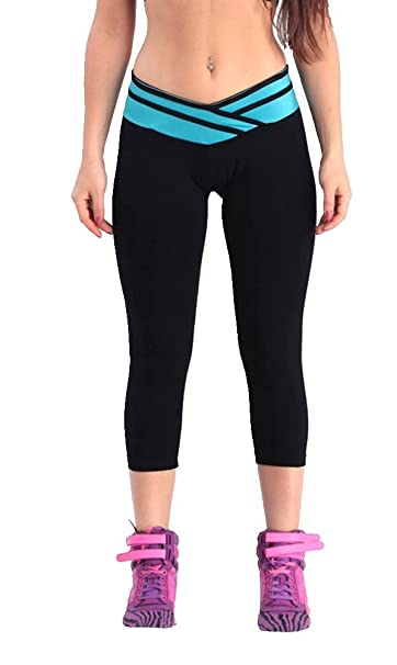714a20a0aa Womens Girls Running Pants, HOVEOX Blue Cotton Stretch Sports Yoga Tights  Gym Workout Leggings Elastic