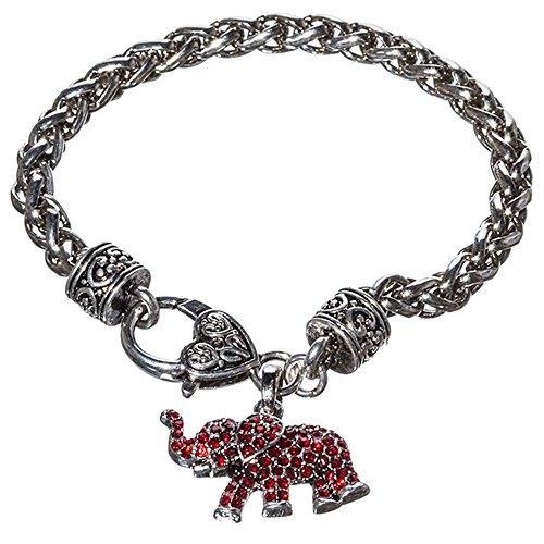 Crimson Rhinestone and Silver Toned Elephant Charm Bracelet, 7.5 Inches