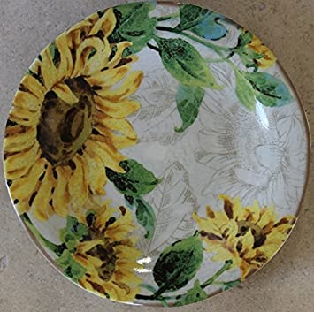 222 Fifth Sunflower Kiss Cream 10 3/4u0026quot;Dinner Plates ... & Amazon.com | 222 Fifth Sunflower Kiss Cream 10 3/4