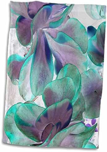 3dRose Susans Zoo Crew Photography Flowers - invert teal blue succulent flapjack - 15x22 Hand Towel (twl_184749_1)