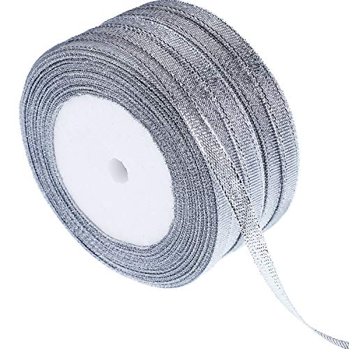 Gejoy 5 Rolls 0.24 inch Glitter Ribbons Metallic Ribbons for Crafters Gifts Wrapping Decorations DIY Crafts Arts (Silver Ribbons) ()