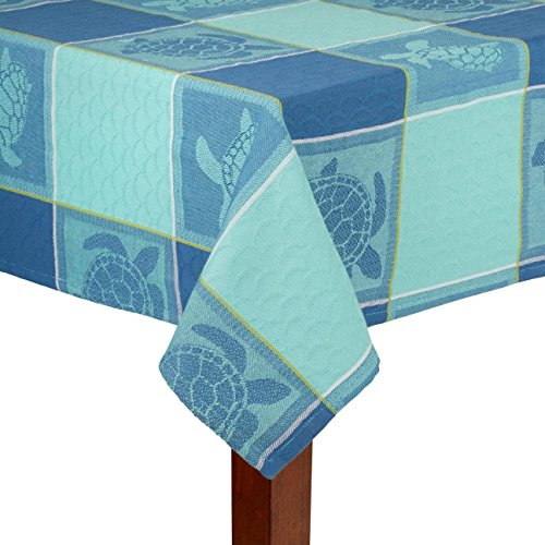 Nantucket Home Teal Blue Ocean Sea Turtles Print Cotton Fabric Tablecloth (52