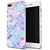 Glitbit Mermaid Fish Scales Pattern Mythical Princess Queen Siren Holographic Iridescent Aesthetic Glitter Thin Design Durable Hard Shell Plastic Protective Case For Apple iPhone 7 Plus / 8 Plus