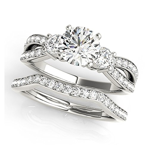 14K White Gold Unique Wedding Diamond Bridal Set Style MT50980