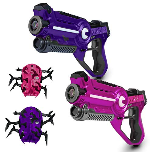 USA Toyz Laser Tag Multiplayer Games - Space Blaster Laser Tag Gun Set, Laser Tag Guns, Lazer Tag for Kids w/ Target Practice Bots (2pk Pink/Purple)