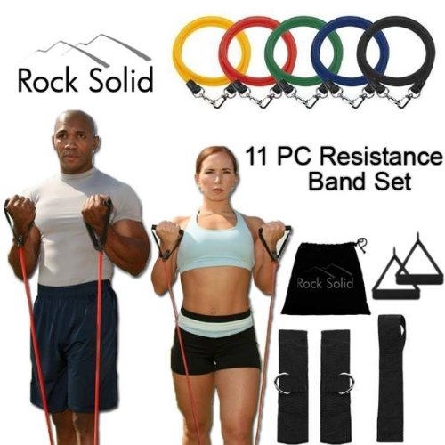 Rock Solid Resistance Band Set with Door Anchor, Ankle Strap, Exercise Chart, and Resistance Band Carrying Case. 2 Year Warranty!
