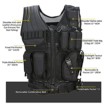 Tactical Vests, Ultra-light Combat Training Molle Vest, Military Assault Bug Out Vest for Shooting Hunting Outdoor CS Field Special Forces (Black) … (Black)