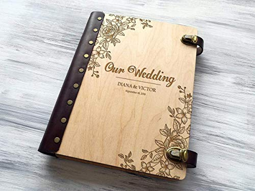 (Wedding Photo Album Personalized Photo Album Custom Wedding Gift Wooden Photo Album Wedding Gift Ideas Gift for Couple Rustic Photo Album Engraved Photo Gifts Wedding Anniversary Gifts for Parents)