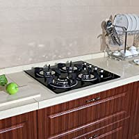 !!! CLEARANCE LIMITED QUANTITY !!! 24 Black Electric Tempered Glass Built-in Kitchen 4 Gas Burner Cooktop