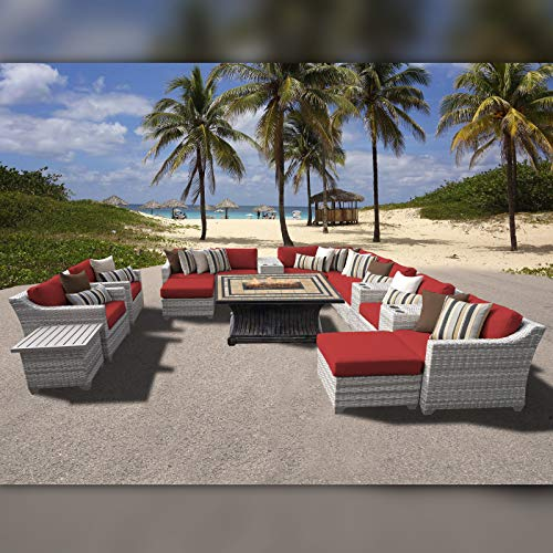 Delacora FAIRMONT-17b-TERRACOTTA Fairmont Outdoor 17 Piece Conversation Set with Fade Resistant Upholstery - Includes Chair, End Table, Fire Pit, Ottoman and Sectional