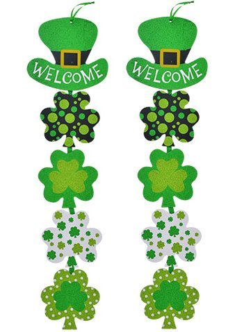 2 Glittering Shamrock Decorative Welcome Signs