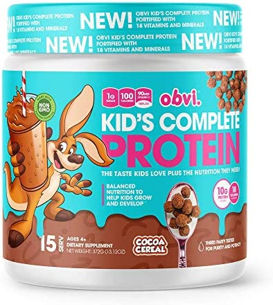 Obvi Kid s Complete Protein, High Protein, Gluten Free, Non GMO, 18 Vitamins Minerals, Made in USA Cocoa Cereal