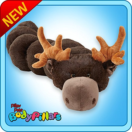 Pillow Pets BodyPillars Chocolate Moose  - 30'' Cozy Stuffed Animal Plush Body Pillow by Pillow Pets