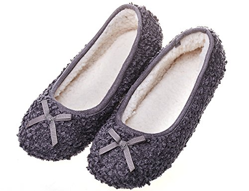 MIXIN Women's Elegant Comfy Litchi Cashmere Soft Sole Indoor Ballerina Flats House Slippers Dark Grey Size 7 by MIXIN