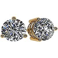 NANA 14k Gold Post & Sterling Silver-Swarovski-Zirconia 3 prong-Martini Style Stud Earrings 1.5ct to 4ct