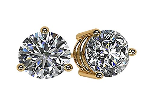 NANA 14k Gold Post & Sterling Silver 3 Prong CZ Stud Earrings -Yellow Gold Plated-6.5mm-2.00cttw 14k Yellow Gold Mounting