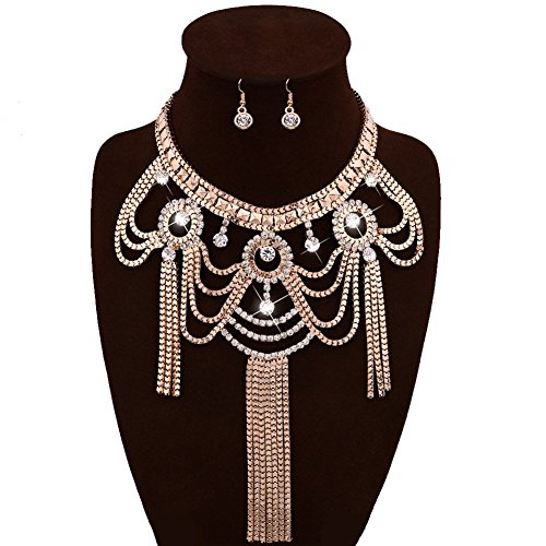 IYOCHO Tassel Crystal Bib Statement Necklace Earrings Set -