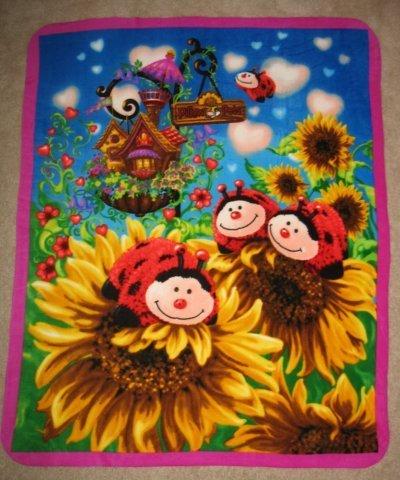 Miss Lady Bug Panel Fleece Throw Blanket