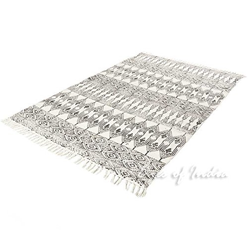 EYES OF INDIA - 5 X 7 ft Black White Cotton Block Print Area Accent Dhurrie Rug Flat Weave Woven