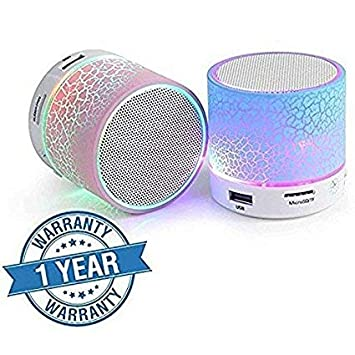ECOM DELHIMART S-10 Wireless LED Bluetooth Speakers with Built-in Microphone, SD Card, USB Slot & FM Radio Supported Compatible with All Android, Windows (Assorted Color)