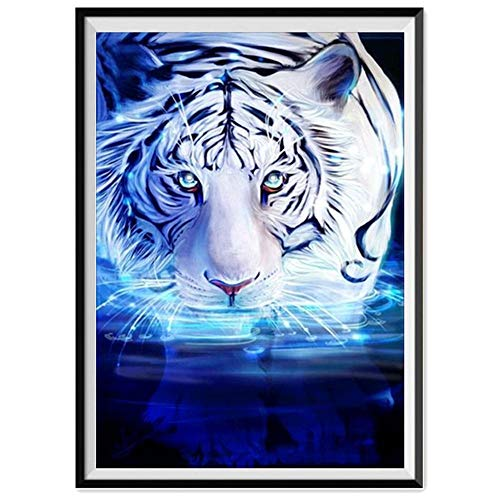 Clearance Sale 5D Diamond Painting Rhinestone White Tiger Into The Water Science Fiction Embroidery Wallpaper DIY Cross Stitch Kit Crystal Full Drill Drawing for Adult Tools Home Decoration 30X40CM