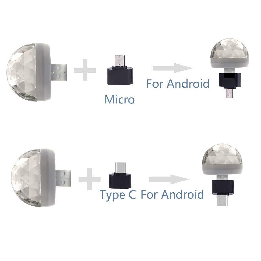 Disco Light,FTXJ USB Mini LED Night Light Color Changed by Sound Music Magic Lights LED Mushroom (White, Type-C) by FTXJ_Home Tool (Image #8)