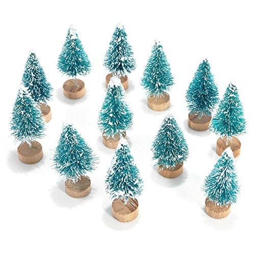 JD Million shop 12x Mini Sisal Bottle Brush CHRISTMAS TREES Santa Snow Frost Village House (Halloween Pumpkin Cupcake Decorating Ideas)