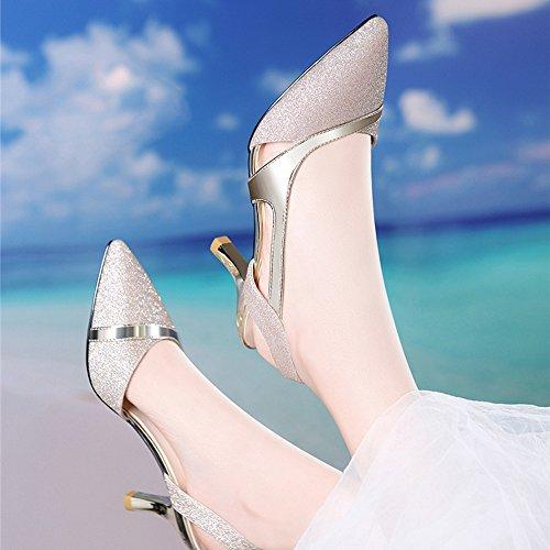 Cristal Profonde 7 Chaussures De Mariage Sexy Talons Talons Escarpins Aiguilles Golden Élevé De Sandales Demoiselle Bouche Pu Peu Pointy Golden Chaussures Talon De Mariée Femmes D'honneur De Haut Chaussures x1Upqq0T