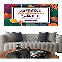 UHOO Modern Canvas Painting Wall Art Template Design Banner for Autumn Season Poster for Special Fall Sale with Flower and herb Autumnal Leaf Decoration Layout for Offer on Natura