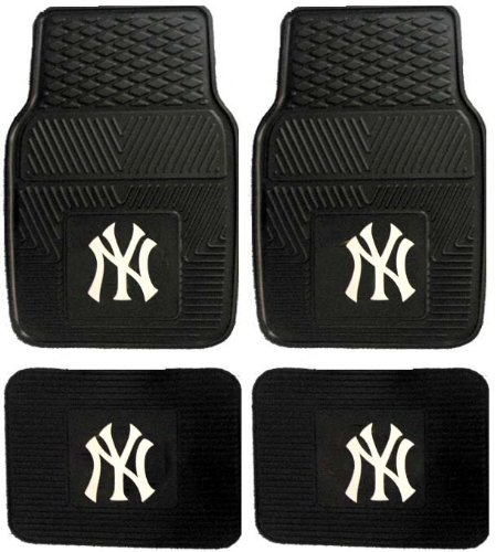 (MLB New York Yankees Car Floor Mats Heavy Duty 4-Piece Vinyl - Front and)