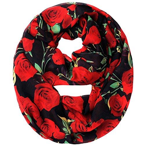 Tapp C. Multicolor Rose Print Infinity Scarf - Red/Black