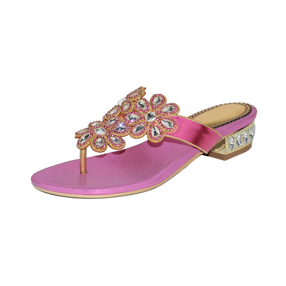 Pink Women's Flat Sandals, Summer Shining Rhinestone Flip Flops, Bund Jewelry Decoration Dress Slippers