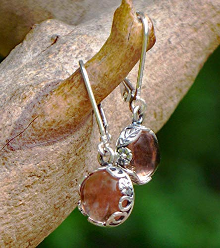 Recycled Antique Pink Depression Glass Sterling Silver Botanical Collection Leverback Earrings