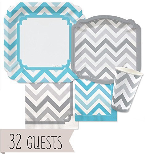 Chevron Blue and Gray - Party Tableware Plates, Cups, Napkins - Bundle for 32 (Chevron Blue Dessert Plates)