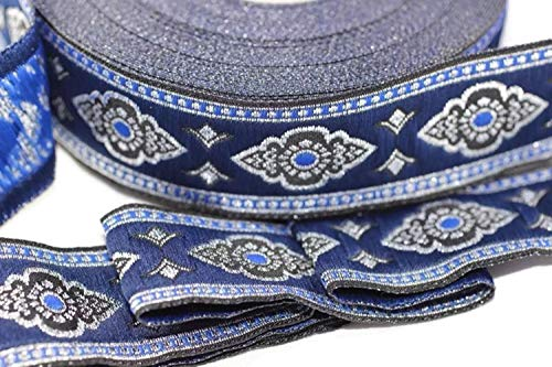Ribbonlands 35 mm Blue Renaissance Motive Ribbon (1.37 inches), European Ribbon, Costume Accessories, Sewing, Jacquard Ribbon, Trim, Woven Border - 11 Yard/10 m (10 Meters/ 32.8 ft) for $<!--$18.80-->