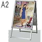 【ポスターパネルスタンドA2両面シルバー32mmRtype】スタンド看板 a 型看板 看板 メニュー看板