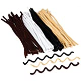 Baker Ross Natural Tones Pipe Cleaners in Black White Brown and Beige for Children to Make Models and Decorate Crafts by