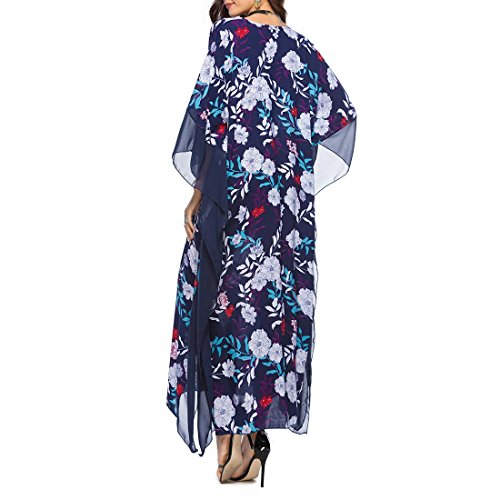 Ai.moichien 2018 Hawaii Delle Donne Lungo Allentato Vestito Stampa Floreale Nuovo V-collo Pipistrello Vacanza Manica Abiti Da Spiaggia Colore 2
