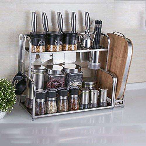 Hyun times 304 Stainless Steel Kitchen Racks Hanging 2 Layers Seasoning Seasoning Kitchen Utensils Supplies Knife by Hyun times Bowl shelf (Image #5)