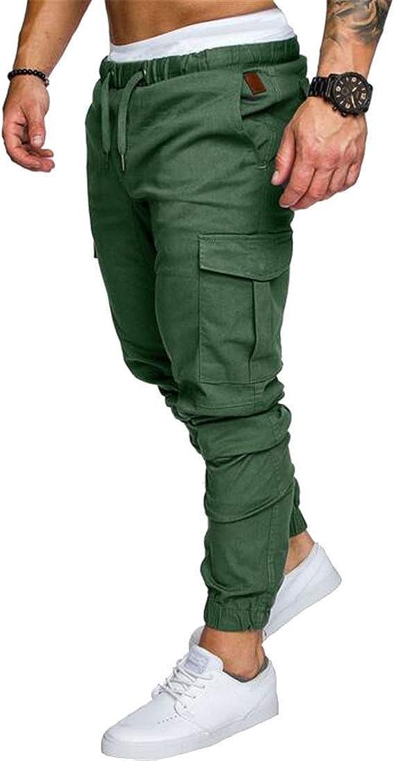 MK988 Mens Mid Waist Solid Color Grunge Hole Loose Pants Sweatpants