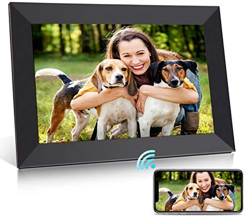 PhotoShare Friends and Family Smart Frame 10.1 Digital Photo Frame, Send Pics from Phone to Frame, Wi-Fi, 8 GB, Holds Over 5,000 Photos, HD, 1080P, Black White Mattes, iOS, Android