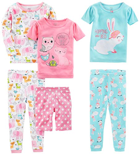 Simple Joys by Carter's Girls' Little Kid 6-Piece Snug Fit Cotton Pajama Set, Bunny/Animals Green, 7 (Cotton Pajama Animal)