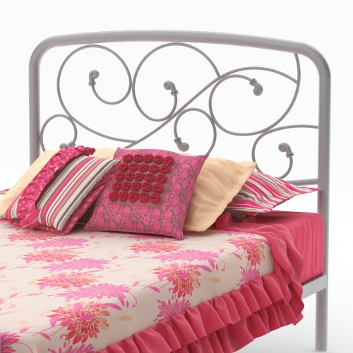 """Amisco Serpentine Metal Headboard/Footboard Only, Twin Size 39"""", Dayglam/Textured Silver Grey"""