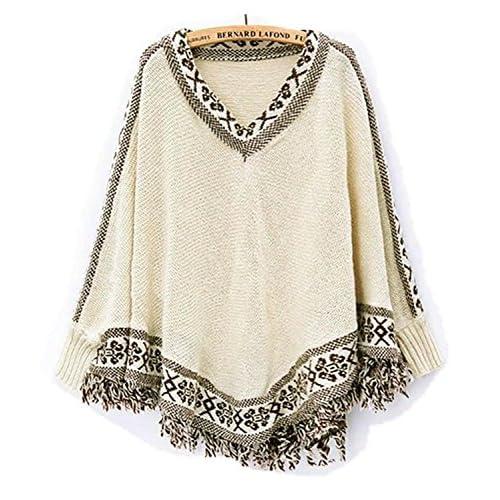 ae805fe5 PianPian Women's Batwing Sleeve Tassels Hem Cloak Knitting Sweater Beige  chic