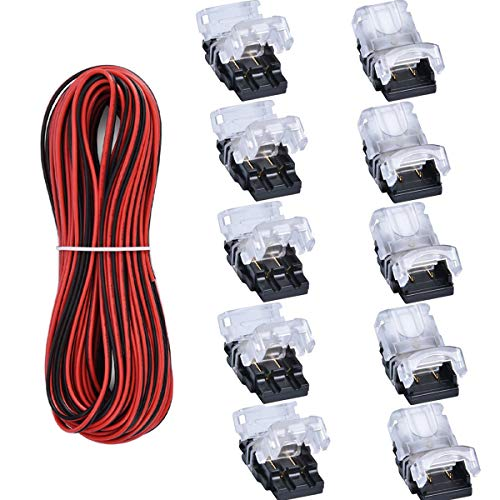 10 Pack 2 Pin LED Connector for Non-Waterproof 8mm 3528 2835 LED Strip Lights, Strip to Wire Quick Connection Without Stripping, Include UL Listed 16.4ft 22 Gauge 2 Conductor Extension Cable