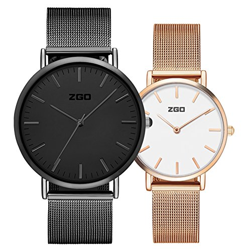 Men's and women's Commercial quartz watches,30m waterproof Stainless steel strap Simple pointers Ultra-thin Couple watch A pair of Leisure-C by FXBNHDFMF