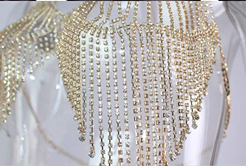 Silver or Gold Rhinestone Body Chain Sequins Bra Bikini Body Chain Store Shiny Sequin Chain Bra Jewelry