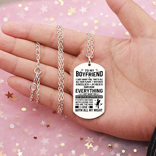 AGR8T Pendant Necklace Valentine Boyfriend Gift From Girlfriend - To My Boyfriend Everything I Just Want You by AGR8T (Image #5)